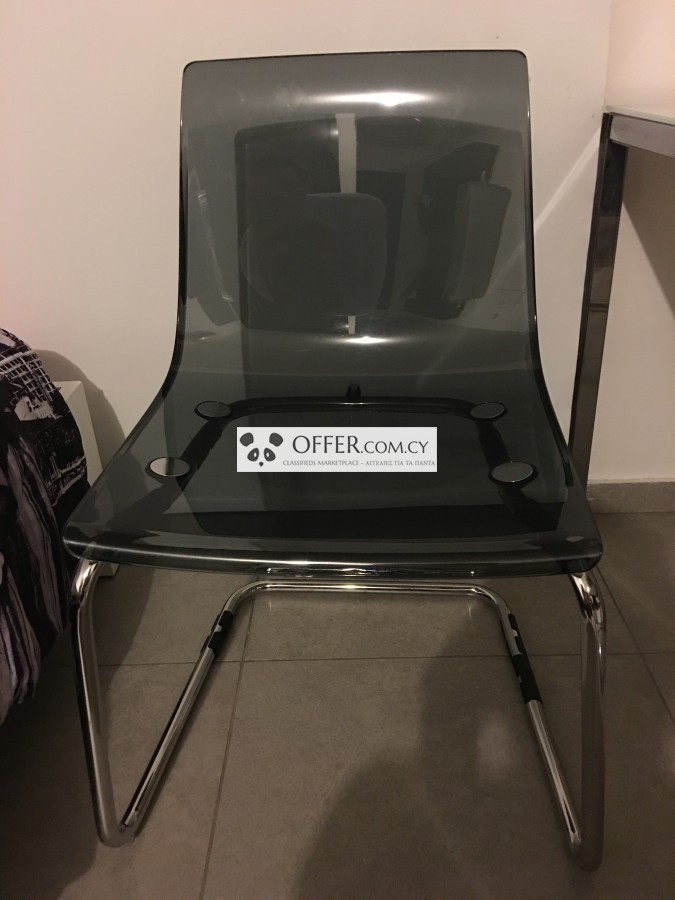MODERN BLACK SEE THROUGH CHAIR   1