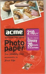 Acme photo paper 210g glossy a6 20 sheets