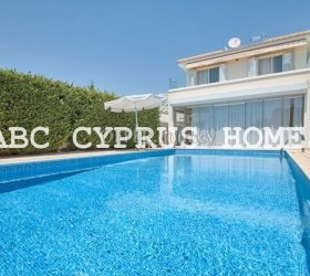 Modern luxury villa with sea views in Coral bay resort, Paphos . Title deeds