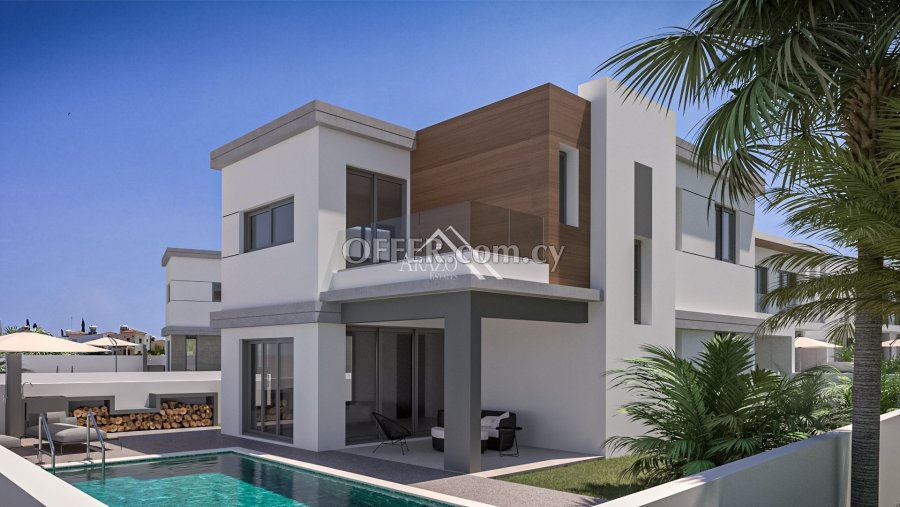 4 Bedrooms Detached Villa with Sea Views Attached to Green Area, Kapparis - 1