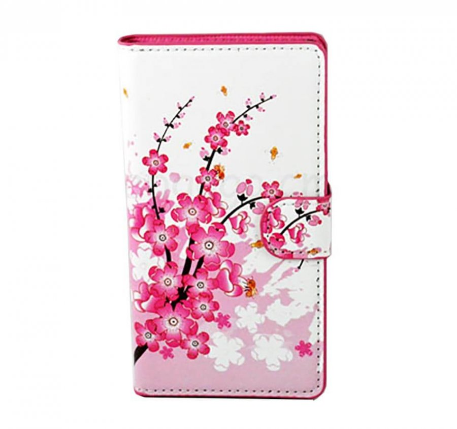 Case for Samsung Galaxy S6 Flip Pink Plum Flowers - 1