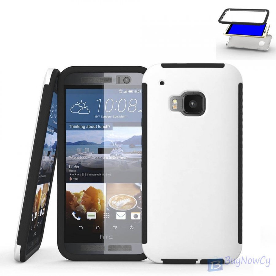 Shockproof Two in One Hybrid Slim Back Cover Case For HTC M9 White - 1