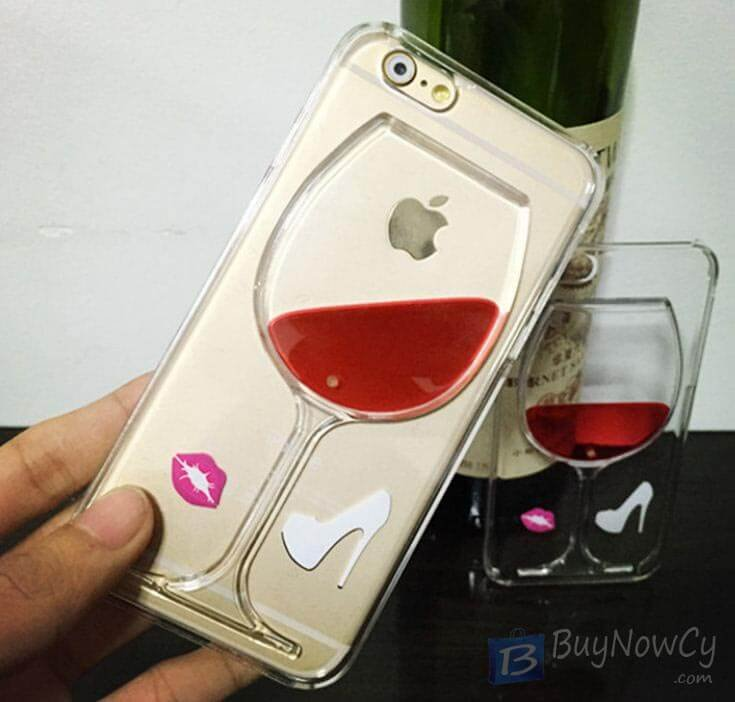 Silicon Case for iphone 6 6S Liquid Red Wine Glass transparent Back Co - 1