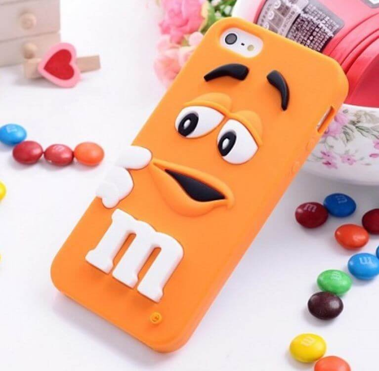 Silicon Case for iphone 6 6S Rubber Soft Back Cover 3D Cute MM Orange - 1