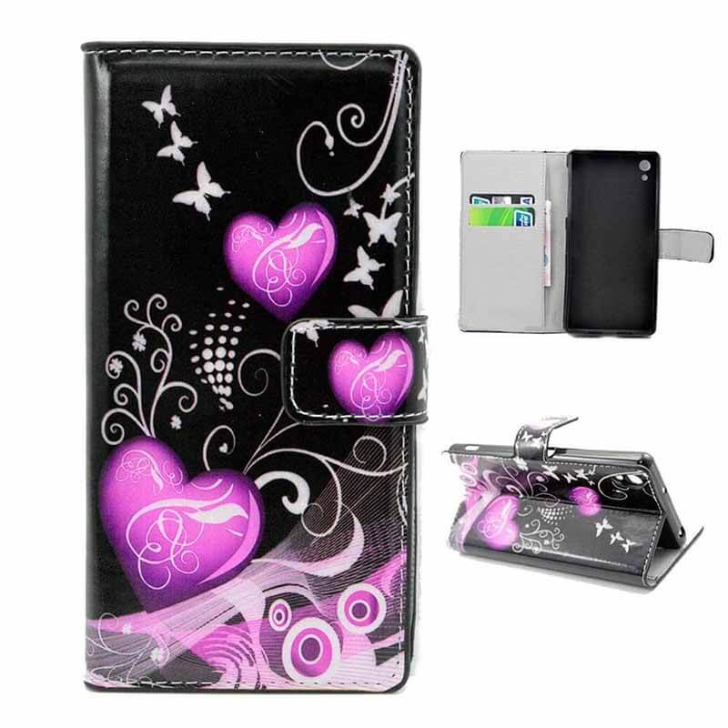 Flip Leather Case for Sony Xperia Z2 Hearts Black - 1