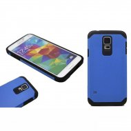 Case for Samsung Galaxy S5 Helmet Armor Silicone Hard Back Cover Blue - 1