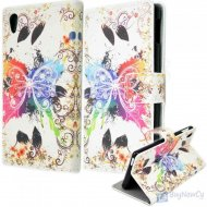 Flip Case for Sony Xperia M4 Aqua Wallet Leather Butterfly pattern Whi - 1