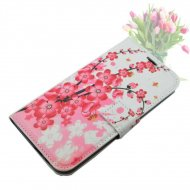 Flip Case for HTC One M8 Pink Flowers White - 1