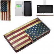 Flip Leather Case for Sony Xperia Z2 USA Flag