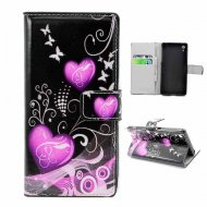 Flip Leather Case for Sony Xperia Z2 Hearts Black