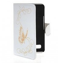 Flip Leather Case for Sony Xperia E1 Butterfly White
