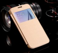 Case for Samsung Galaxy S6 Window View Leather Slim Gold