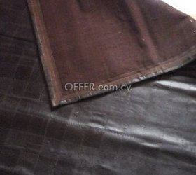 Black leather patch rug - made in india. 200 cm x 150 cm - 2