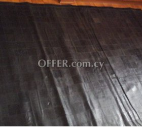 Black leather patch rug - made in india. 200 cm x 150 cm - 1